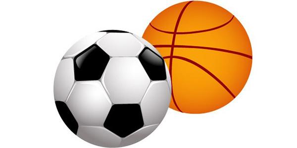 Irudian futbol eta saskiko baloiak